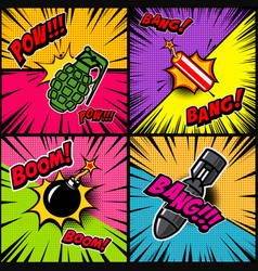set of comic style bomb explosion design element vector image