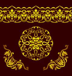 set of golden patterns in ethnic national vector image