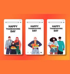 Set people in masks celebrating happy thanksgiving vector