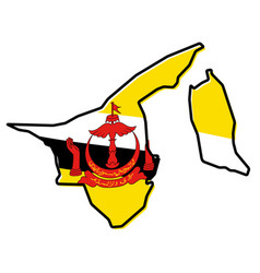Simplified map of brunei outline with slightly vector