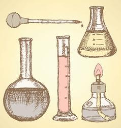 Sketch scientific equipment in vintage style vector