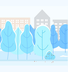 snowy city park with trees winter weather in town vector image