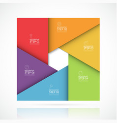 square infographic template 6 steps vector image