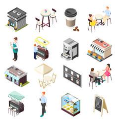 street coffee isometric icons set vector image