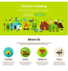 Summer camping web design vector