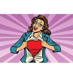 Super hero woman ripping shirt vector