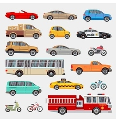 Urban city cars and vehicles transport vector