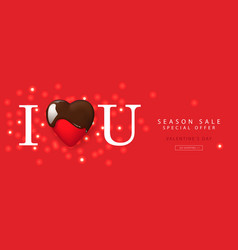 Valentines day sale web banner template with red vector