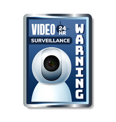 video surveillance warning nameplate banner vector image