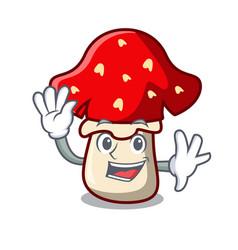 Waving amanita mushroom character cartoon vector