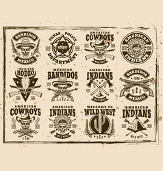 Western and wild west set of emblems vector
