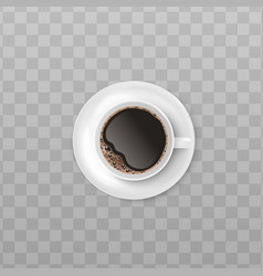white cup black coffee with realistic foam vector image
