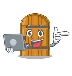 With laptop cartoon wooden door massive closed vector