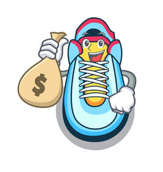 With money bag classic sneaker character style vector