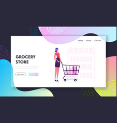 woman in grocery store website landing page vector image