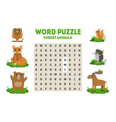 word search puzzle with forest animals vector image
