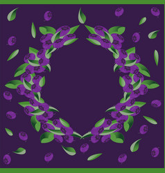 Wreath of bushes of blueberry vector