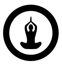 Yoga pose of woman black icon in circle isolated vector