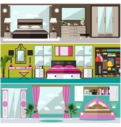 Bedroom interior banners set in flat style vector image vector image