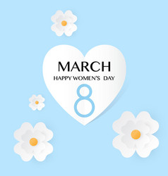 blue floral greeting card women s day 8 march vector image