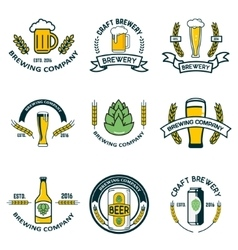 brewery labels and design elements Beer mugs vector image vector image