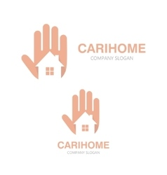 hand and house logo concept vector image vector image