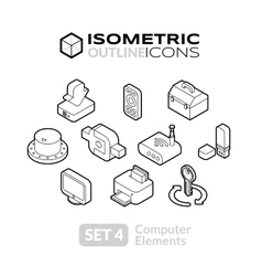Isometric outline icons set 4 vector image