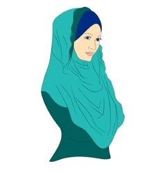 Muslim girl dressed in colored hijab vector