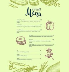 vegan restaurant menu identity typographic design vector image vector image