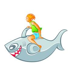 Boy on shark rocket vector image vector image