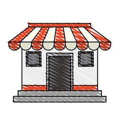 color crayon stripe cartoon facade shop store vector image vector image