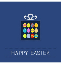 Colored Easter egg set dash line giftbox Card Flat vector image