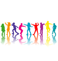 colorful group of children silhouettes dancing vector image