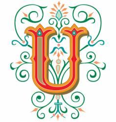 floral letter u vector image vector image