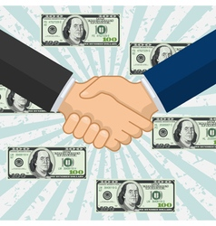 Handshake over some flying dollar banknotes vector image