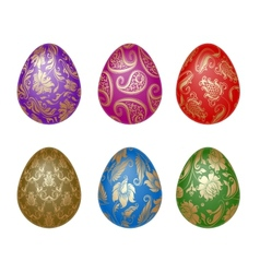 set of easter eggs with ornaments vector image vector image