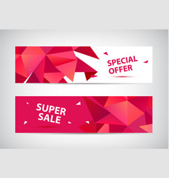 set of faceted 3d shape sale banners use vector image
