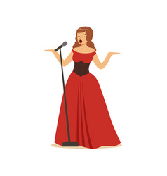beautiful woman opera singer in long red dress vector image vector image