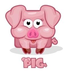 cute cartoon square pig vector image vector image