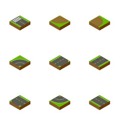 isometric way set of down strip road and other vector image vector image