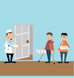 patients on reception to the doctor vector image