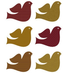 Retro brown dove set isolated on white vector image vector image