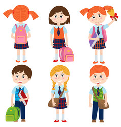 set of isolated pupils of the school vector image vector image