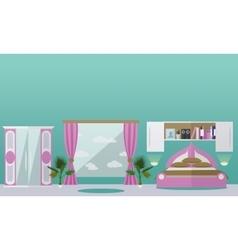 Bedroom interior in flat style vector image vector image