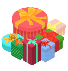 bright colorful present and gift boxes with vector image