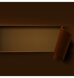 Brown background with rolled paper vector image vector image