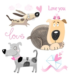 Dog lovers set vector image