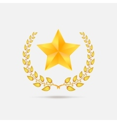 Golden laurel wreath with star vector image
