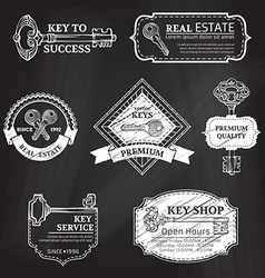 set of chalk badges labels logo templates and vector image vector image