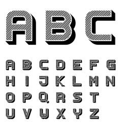 3D black striped font alphabet letters vector image
